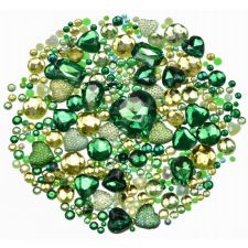 Mixed Pack of GREEN Gems and Diamante Embellishments